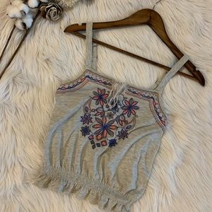 Embroidered Ruffle Tank Top